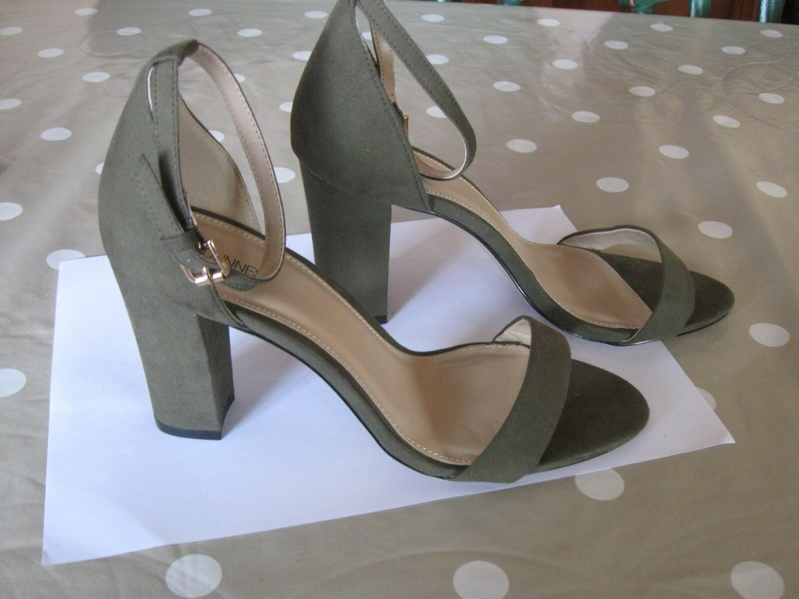 Dunnes Size 6 Moss Green High Faux Suede Sandals Brand New with Tags