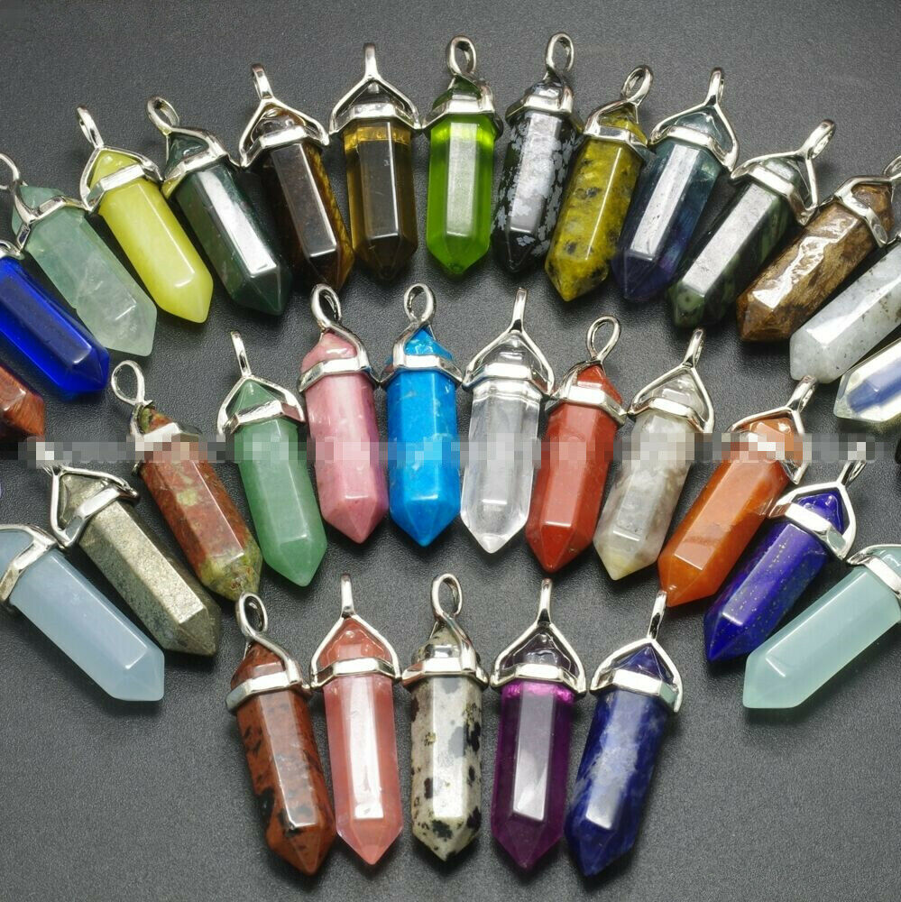 Jewellery - Gemstone Pendant for Necklace Natural Quartz Crystal Point Chakra Healing Stone
