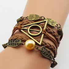 Harry Potter Golden Snitch Deathly Hallows Metal Owl Braided Bracelet Bangle