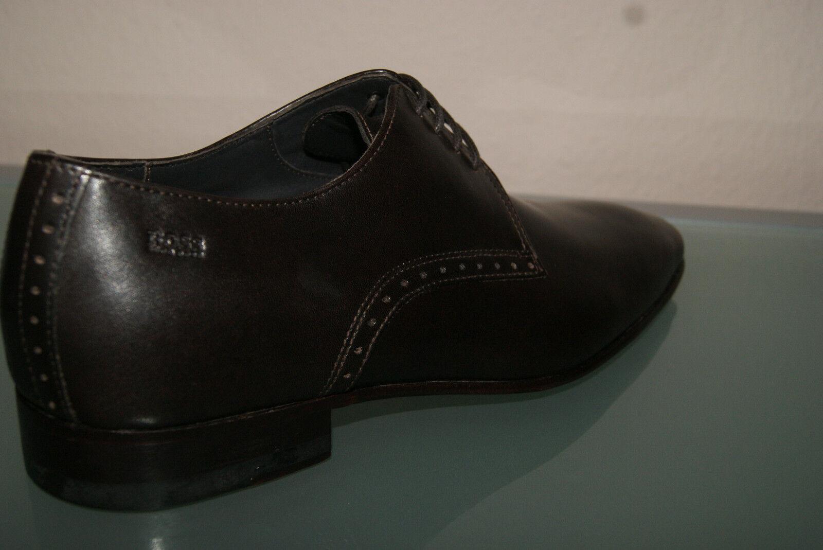 Hugo Hugo Hugo Boss Schuhe Gr 40,5 6,5 Business Herrenschuhe MELZIO dunkelbraun NEU 072abc