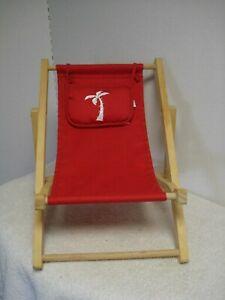 Magnificent Details About Build A Bear Workshop Wooden Beach Sling Folding Lounge Deck Chair Red W Pillow Machost Co Dining Chair Design Ideas Machostcouk