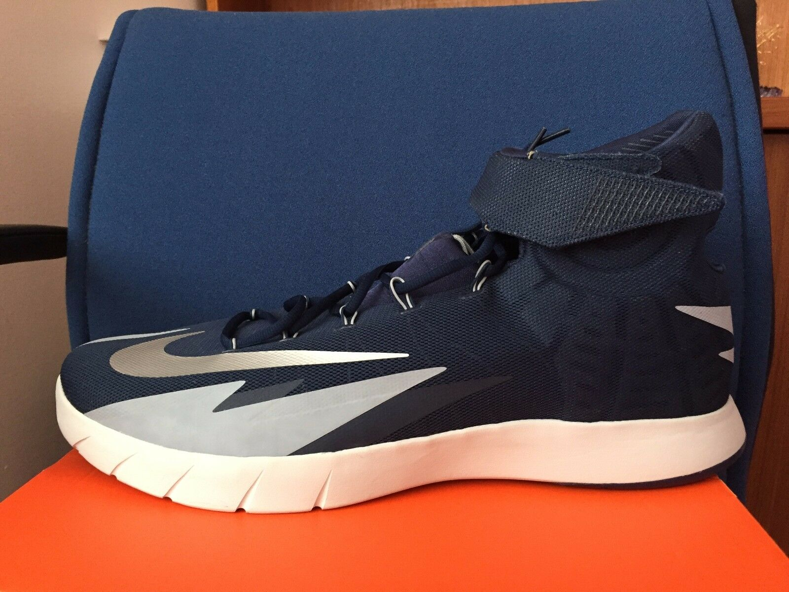 2018 Nike Zoom Hyperrev TB Basketball Shoes sz 18 Navy Blue Silver 643301-401 DS