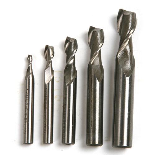 2pc HSS-AL Straight 2 Flutes End Milling Cutter Drill Bit Set 3*6*8*52mm