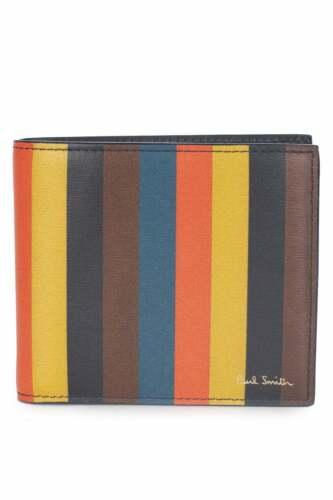 PAUL SMITH Bright Stripe Leather Billfold Wallet