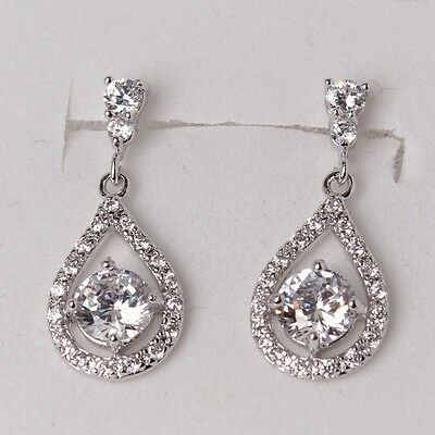 18k white gold filed White sapphire fashionable lady dangle earring hot sale