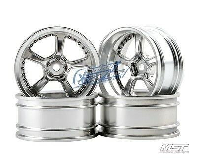 MST Flat silver Kairos RC 1/10 Drift Car Wheels offset 11 (4 PCS) 102038FS New