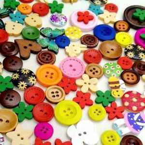 100pcs-Buttons-Mixed-DIY-Craft-Scrapbook-Sewing-Heart-Flower-Circle-Shape-Button