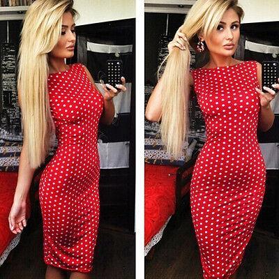 New Fashion Women Polka Dot Dress Sleeveless Halter Pencil Dress Red Hottest