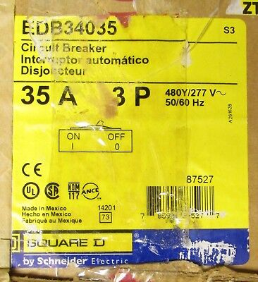 SQUARE D EDB34035 35 AMP  3 POLE EDB CIRCUIT BREAKER 1 YEAR WARRANTY