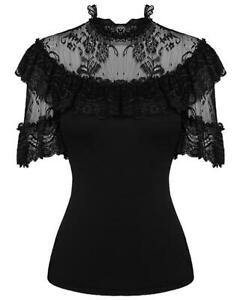 Dark-In-Love-Womens-Gothic-Top-Black-Lace-Steampunk-Lolita-VTG-Victorian-Blouse