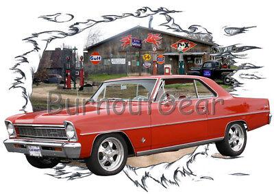 1966 Red Chevy Nova b Custom Hot Rod Garage T-Shirt 66 Muscle Car T
