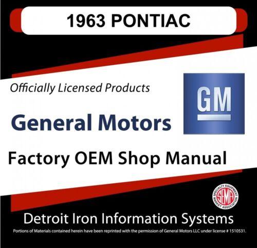 1963 Pontiac Tempest Grand Prix Bonneville Shop Manuals /& Parts Books CD
