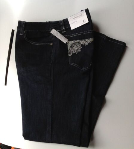 Denim Blue Jeans embroidered floral PLUS SIZE 16W 24W CJ Banks Barely Boot