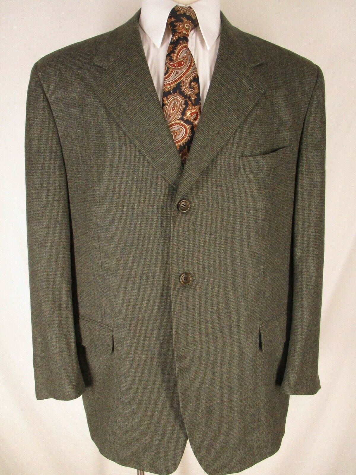 Canali Mens Olive Houndstooth 3 Btn Wool Cashmere Sport Coat 48R  Made