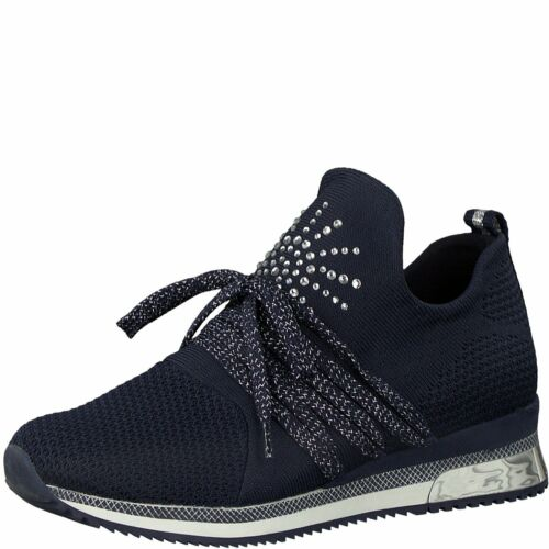 Marco Tozzi Navy Combi Lace Up Low Wedge Heel Fashion Trainer