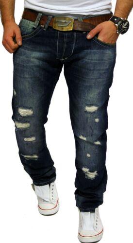 Amica Jeans Uomo Pantaloni Chino Blu Spessore Cuciture cuciture crepe effetto vissuto Destroyed