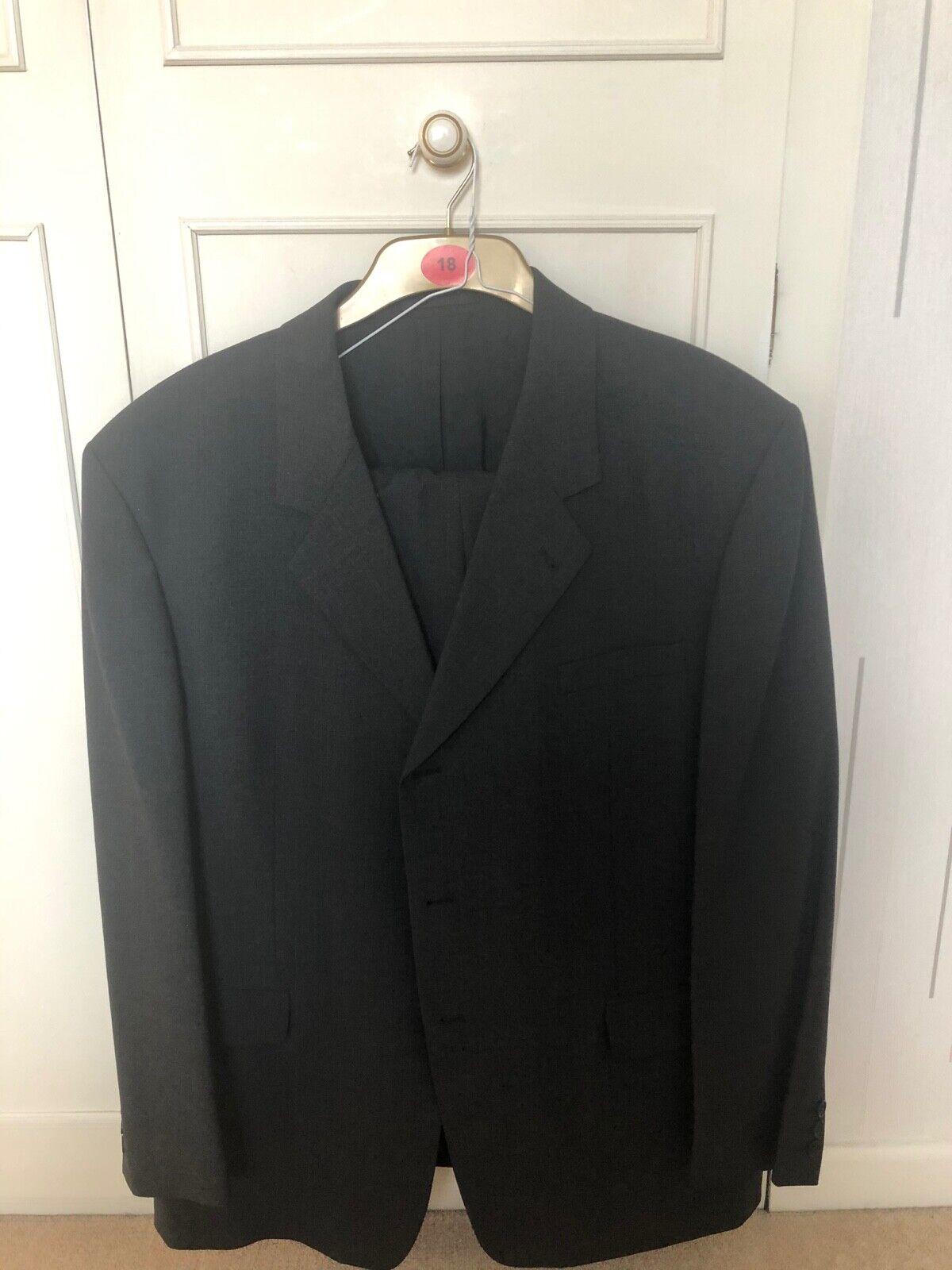 Mans dark grey suit Trousers w42 l 31. Jacket 48