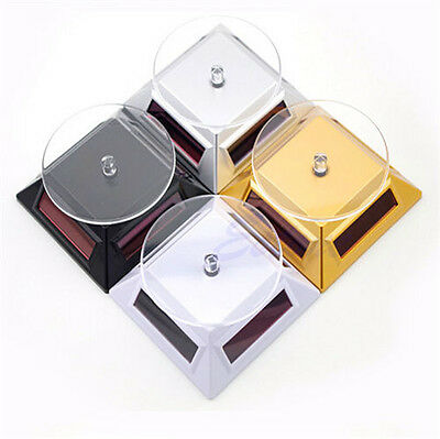 Solar Power 360 Rotating Display Stand Turn Plate Table For Phone Watch Jewelry