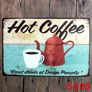 Metal-Tin-Sign-hot-coffee-Decor-Bar-Pub-Home-Vintage-Retro-Poster-Cafe-ART