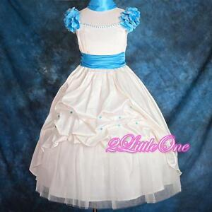 Ivory Satin Embroidery Dress Wedding Flower Girl Pageant Party Size 2T-9 FG149