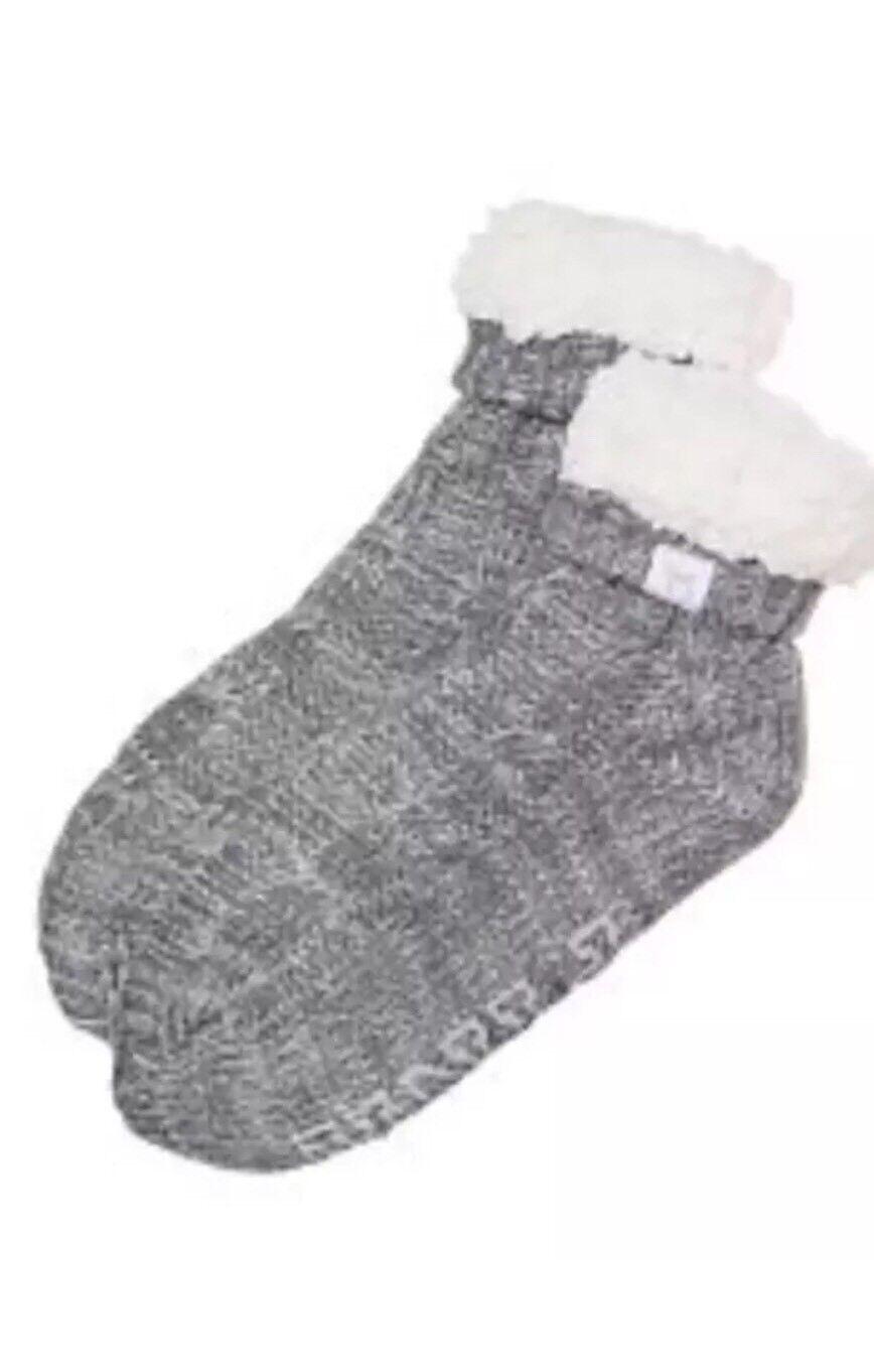 2 Victoria's Suave Secret rosado Zapatillas Calcetines Suave Victoria's gris blancoo Sherpa Forrado de un tamaño 617a07