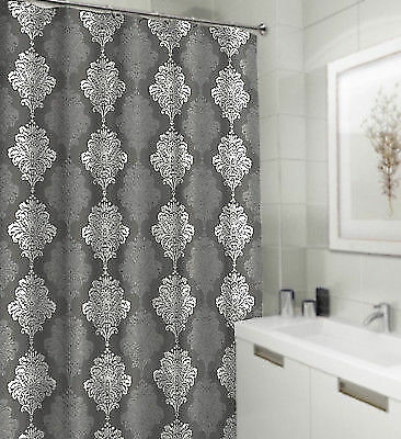 Buy Shower Curtain Gray And White Damask Textured Fabric Decorative