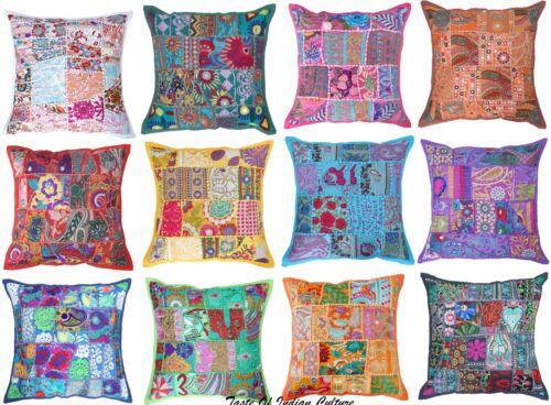"Indian 16/"" Cushion Pillow Cover Embroidered Sofa Throw Handmade Home Boho Decor"