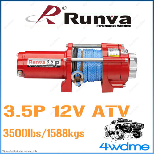 RUNVA 3.5P ATV 3500lbs 12V WDyneema Rope Cable Recovery Offroad 4WD Buggy Winch