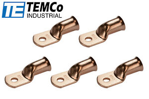 """5 Lot 1 AWG 5//16/"""" Hole Ring Terminal Lug Bare Copper Uninsulated Gauge"""