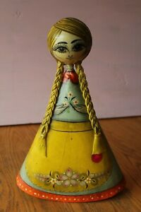 Vintage-Mexican-Painted-Paper-Mache-Doll-Ser-Mel-Tramite-Mexico-Folk-Art-Girl