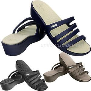 c284107f5dbb Image is loading Crocs-Sandals-Women-Rhonda-Wedge-Comfortable-Sandal-14706-