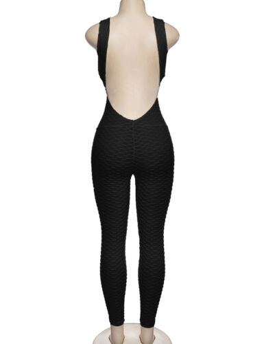 Womens Sleeveless Sport Gym Yoga Running Fitness Jumpsuit Bodysuit Pant Leggings