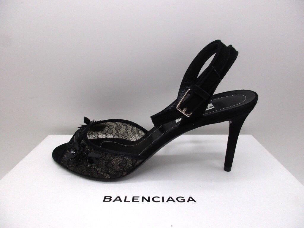 Balenciaga nero Lace Lace Lace Evening Wrap Around Ankle Strap Sandals  945 38.5 8.5 018f10