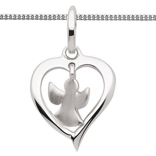 Baby Kinder Frauen Herz mit beweglichem Schutz Engel Anhänger Kette Silber 925