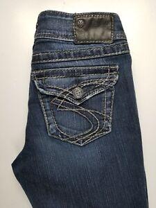 Silver Suki Bootcut Stretch Button Flap Pockets Womens Jeans Sz 27 x 30