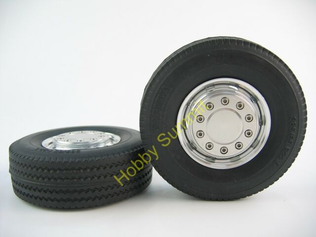 ALLOY WHEELS w/ 30mm TIRES  1/14  3-AXLE TRALIER Tamiya R/C Tractor Truck 56326