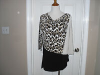 Chico's Modern Animal Cadence Colorblock Top/blouse 3=16/18 X-large Black
