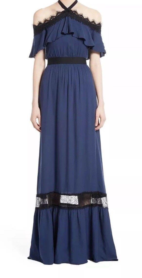 ALICE + OLIVIA Mitsy Lace Halter Off Shoulder Maxi Dress Navy Blau schwarz 2 UK6-8
