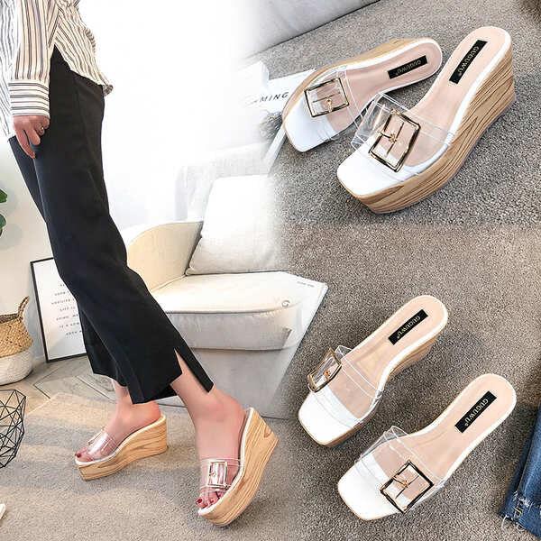 Sandale eleganti sabot zeppa ciabatte 9 bianco comodi simil pelle colorati 9829