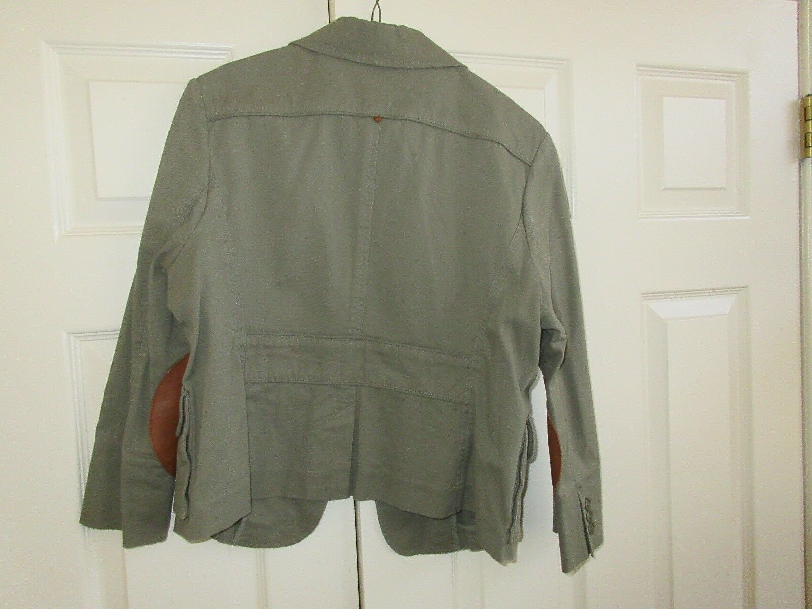 BCBG Maxaazria , Ladies Jacket , Green , Leather Patche