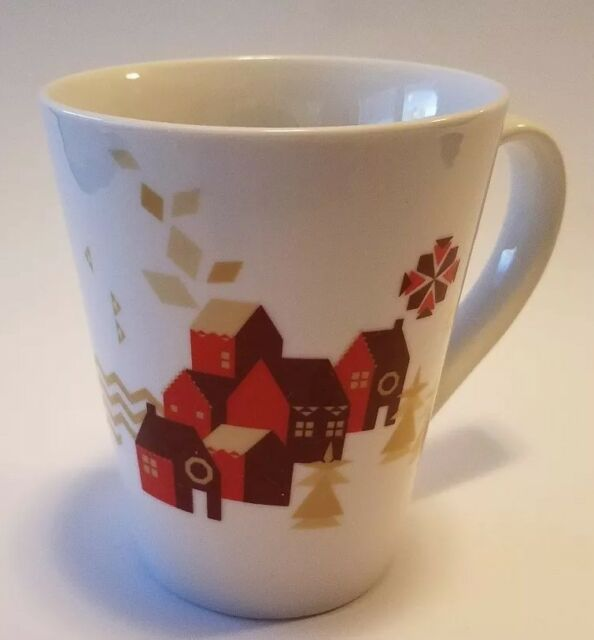 Starbucks Coffee Co Cup Mug 2013 Red Houses Buildings Gold