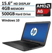 "New HP 15.6"" AMD Quad A6-5200 2.0GHz Laptop 4GB 500GB WebCam WiFi DVDRW Win 10"