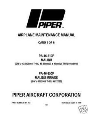 piper malibu pa 46 310p 46 350p maintenance manual ebay rh ebay com Piper Seneca Piper Meridian Useful Load