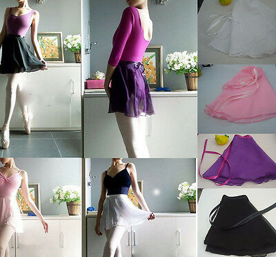 5Colors Chiffon Women Girl Ballet Tutu Dance Skirt Skate Wrap Scarf Dancewear