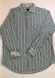 Neiman-Marcus-Mens-XXL-Shirt-Blue-Green-Stripe-Floral-Flip-Cuff-Button-Down-L-S