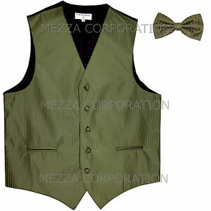 New Men's Tuxedo Vest Waistcoat Vertical Stripes Bowtie prom party Olive Green