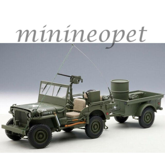 AUTOart 74016 JEEP WILLYS ARMY 1/18 with TRAILER AND ACCESSORIES MODEL CAR GREEN