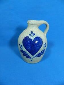 "Rowe Pottery Works Heart Jug Salt Glazed 5.75"" Blue Cobalt ~ MINT!"