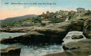 C-1910-Postcard-Sphinx-Head-Cave-La-Jolla-California-San-Diego-Eno-Matteson-1586