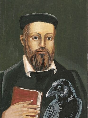 1.5x2 DOLLHOUSE MINIATURE PRINT OF PAINTING RYTA 1:12 SCALE NOSTRADAMUS PORTRAIT